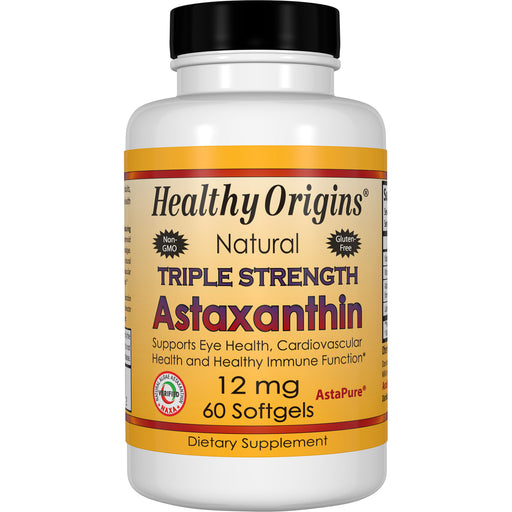 Healthy Origins - ASTAXANTHIN (COMPLEX), TRIPLE STRENGTH, 12MG, 60 GELS