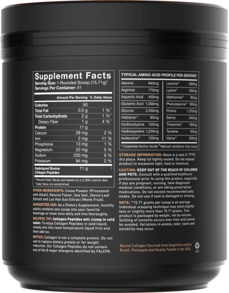 Sports Research - NATURALLY FLAVOURED COLLAGEN PEPTIDES, Dark Chocolate, 644.11g