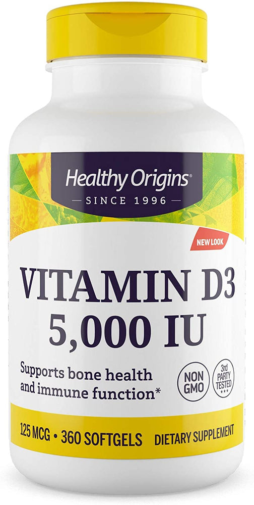 Healthy Origins - VITAMIN D3 GELS, 5,000 IU (LANOLIN), 360 GELS