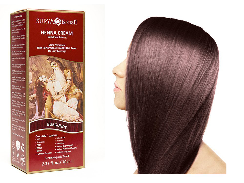 Surya Brasil Henna Cream Kit - Burgundy 70 ml, Natural Hair Colour