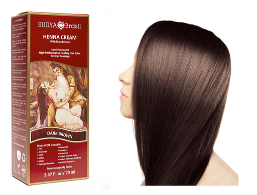 Surya Brasil Henna Cream Kit - Dark Brown 70 ml, Natural Hair Colour