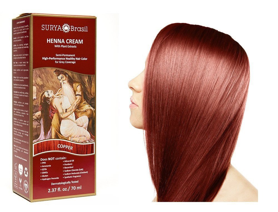 Surya Brasil Henna Cream Kit - Copper 70 ml, Natural Hair Colour
