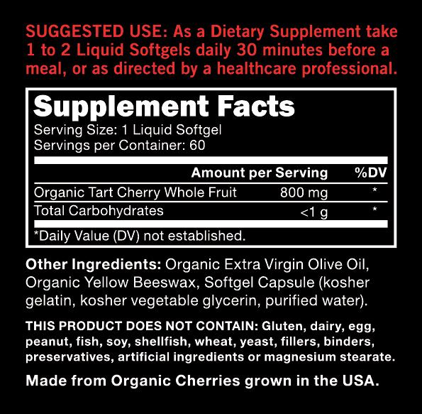 Sports Research - TART CHERRY CONCENTRATE, 800mg, 60 SoftGels