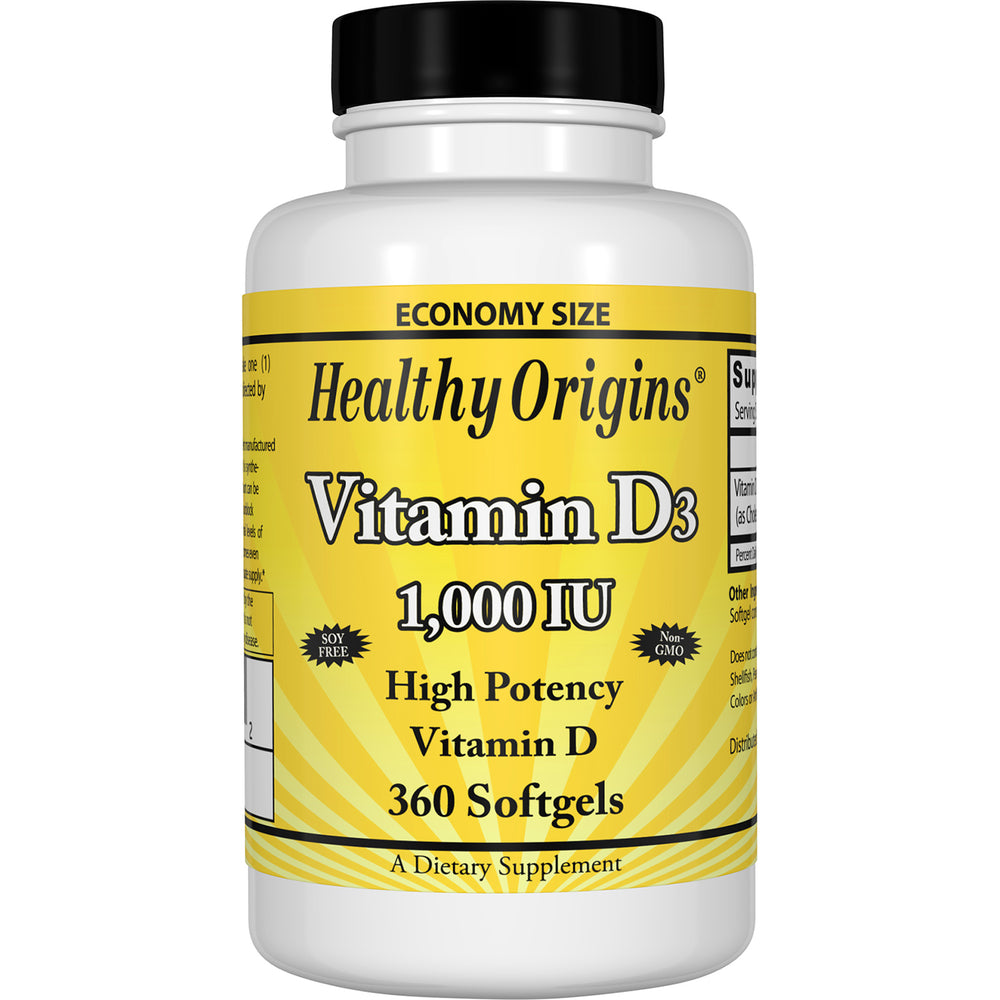 Healthy Origins - VITAMIN D3 GELS, 1,000 IU (LANOLIN), 360 GELS