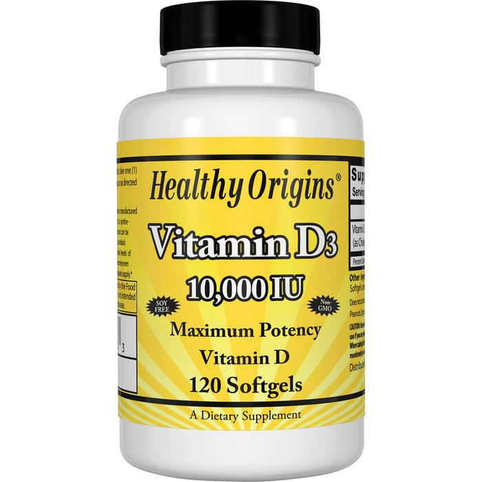 Healthy Origins - VITAMIN D3 GELS, 10,000 IU (LANOLIN), 120 GELS