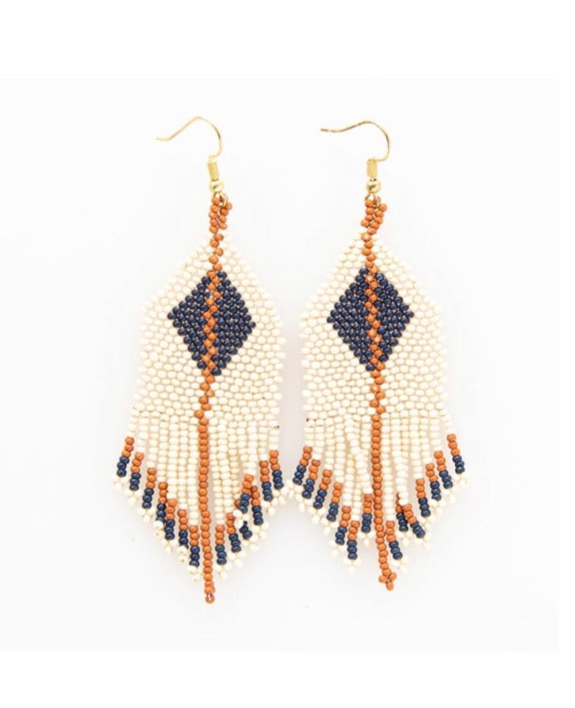 Navy & Rust Diamond Fringe Earring