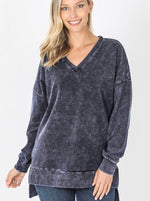 Mineral Wash V Neck Cozy Tunic - multiple colors! S-3XL!!
