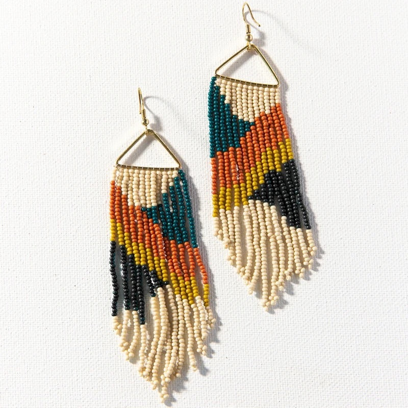 Peacock Rust Triangle Beaded Earrings