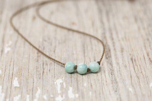 Matte Amazonite Triple Knotted Necklace