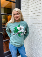 Christmas Magnolia Tee — red or green