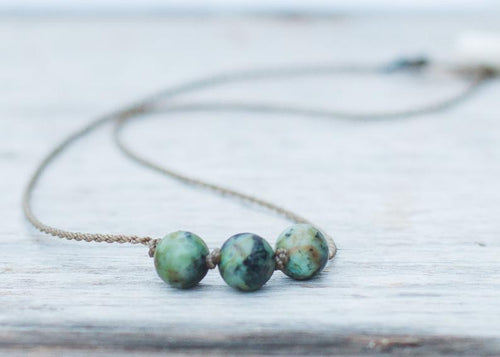 African Turquoise Triple Knotted Necklace