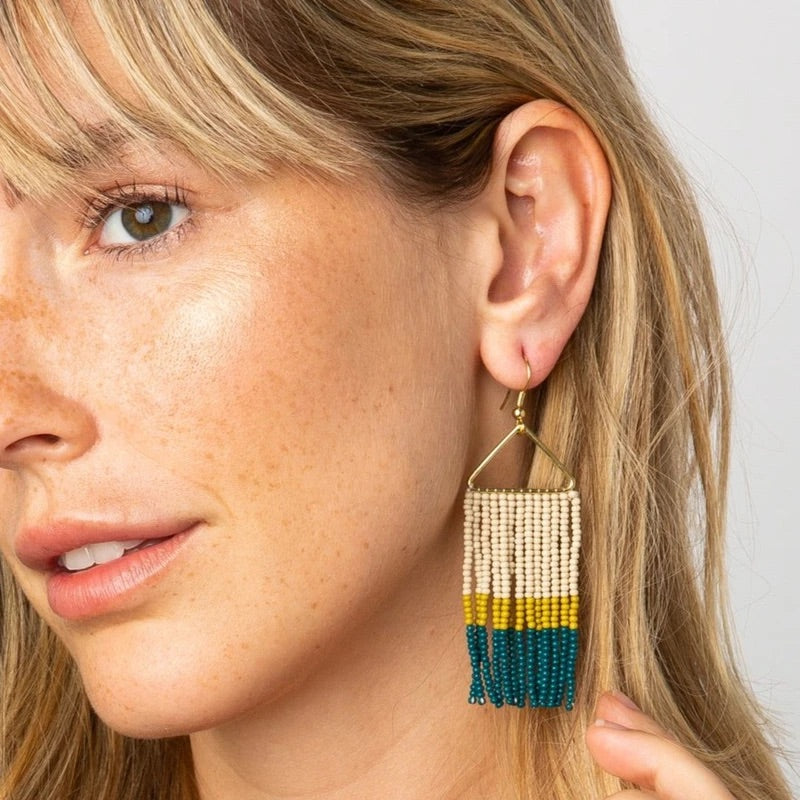 Peacock Citron Fringe Earrings