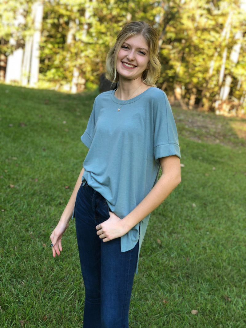 Cozy Tunic Short Sleeve Scoop — multiple colors!!