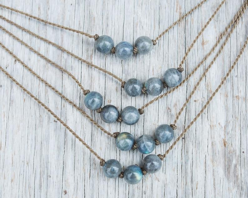 Labradorite Triple Knotted Necklace