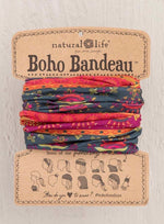 Boho Bandeau- Navy & Red border print