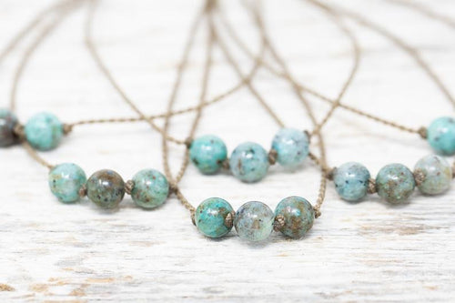 Chrysocolla Triple Knotted Necklace