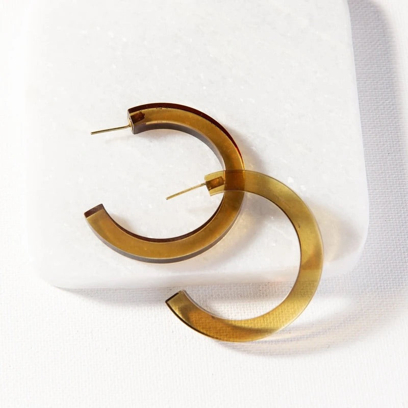 Olive Lucite Hoops