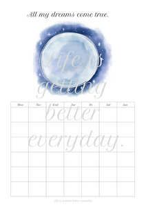Moon monthly log