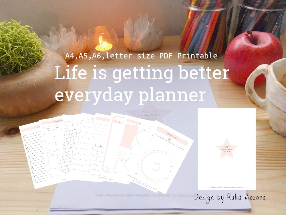 ''Life is getting better everyday planner'' kit(10 pages PDF printable)