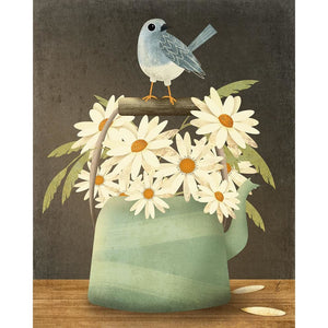 Blue Bird and Daisy Illustration | Kitchen Decor | Tea Pot Artwork