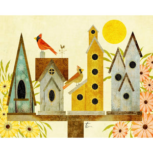 Cardinal Bird Illustration | Modern Folk Art | Birdhouse Decor Tracey Capone Photography