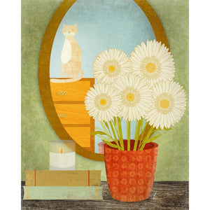 Cat Illustration | Daisy Flower Wall Art | Home Decor Tracey Capone Photography