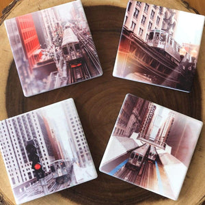Chicago Trains Four Coaster Set Tracey Capone Photography