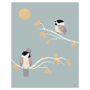 Chickadee Bird Illustration Nature Wall Art Decor Tracey Capone Photography