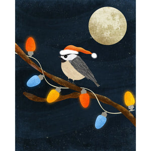Christmas Illustration | Chickadee Bird Decor