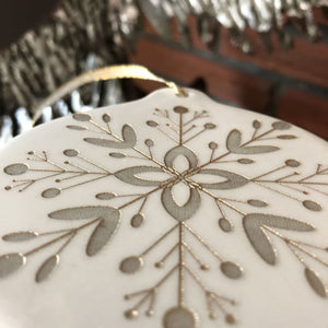 Christmas Ornaments | Hand Painted Gold and White Porcelain Snowflake