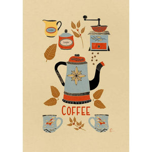 Coffee Themed Folk Art Illustration // Kitchen Wall Decor Tracey Capone Photography