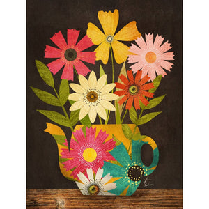 Illustration of colorful flowers in a yellow teapot by Chicago artist Tracey Capone