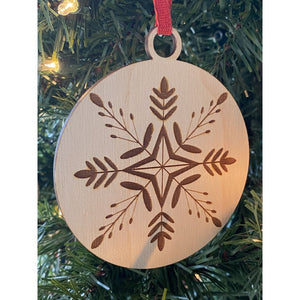 Engraved Wooden Snowflake Ornament | Christmas Home Decor