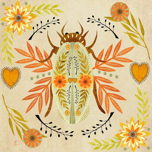 Folk Art Beetle Illustration | Flower Wall Art Tracey Capone Photography