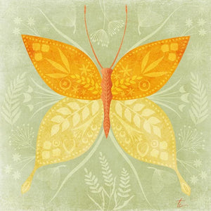 Folk Art Butterfly | Floral Illustration | Flower Wall Art