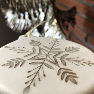 Hand Painted White Porcelain Snowflake Ornament | Holiday Decor