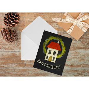 Holiday House and Wreath Card | Size A2 Note Cards
