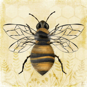 Honeybee Illustration | Botanical Wall Art | Nature Home Decor