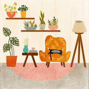 Illustration of Cat and Plants in a Cozy Room // Wall Art Decor Tracey Capone Photography