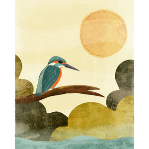 Kingfisher Illustration | Bird Wall Art Print