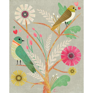 Lovebirds Illustration | Colorful Flower Wall Art Decor Tracey Capone Photography