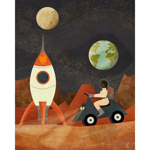 Mars Astronaut Rocket Ship | Vintage Inspired Illustration | Girls Room Decor
