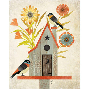 Modern Folk Art Illustration | Bird House and Flower Wall Art Tracey Capone Photography