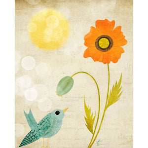 Orange and Teal Poppy and Bluebird Illustration | Nursery Wall Decor Tracey Capone Photography