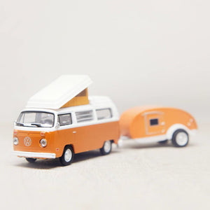 Orange VW Bus & Teardrop Camper-Tracey Capone Photography