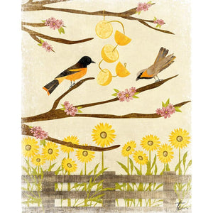 Oriole Illustration | Sunflower Artwork | Floral Wall Decor Tracey Capone Photography