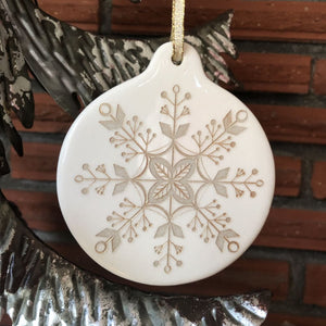 Porcelain Snowflake Ornament | Gold Accents