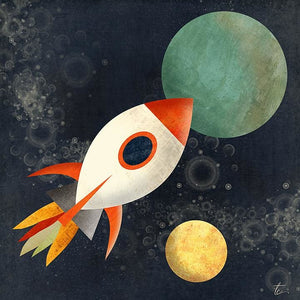 Rocket Ship Illustration | Kids Room Artwork | Space Art
