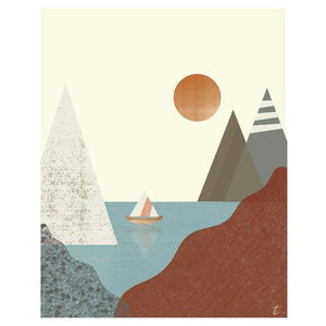 Sailboat and Mountain Illustration | Nautical Home Decor Tracey Capone Photography