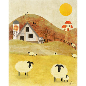 Sheep Farm Illustration | Rustic Home Decor | Nursery Home Decor Tracey Capone Photography